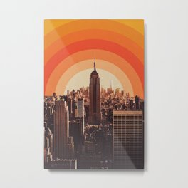 New York's Famous Sunset - Retro City Metal Print