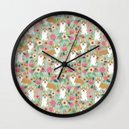 Corgi Florals - vintage corgi and florals gift great for corgi lovers, corgi gift, corgi florals, co Wall Clock
