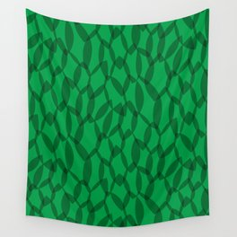 Overlapping Leaves - Dark Green Wall Tapestry