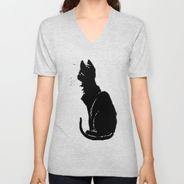 Life With Black Cats Vector Unisex V-Neck