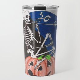 Smoking Skeleton on Jackolantern Pumpkin Beistle Style Travel Mug