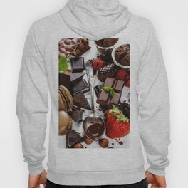 An assortment of  chocolate with nuts, muffins, macaroons Hoody