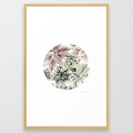 Circular Succulent Watercolor Framed Art Print