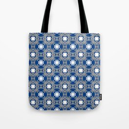 Blue white and grey square floral Tote Bag