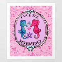 patriarchy Art Prints featuring F**K The Patriarchy by Kittymacdraws