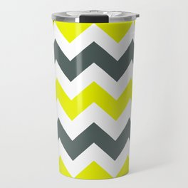 Chevron Pattern In Limelight Yellow Grey and White Travel Mug