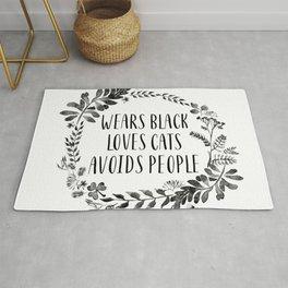 Wears Black Loves Cats Avoids People Art Print watercolor ink flowers Rug