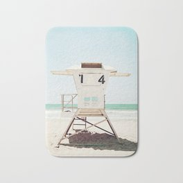 Lifeguard Stand, Beach Photography, San Diego California, Blue Aqua Seashore Ocean Summer Art Bath Mat