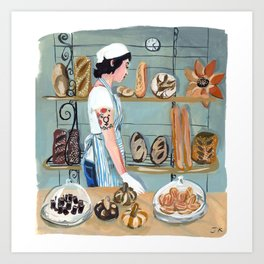 Clearfour Bakery Girl Art Print