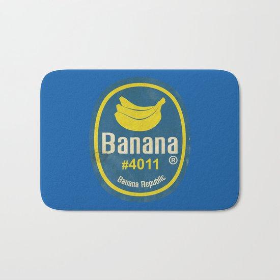 Banana Sticker On Blue Bath Mat