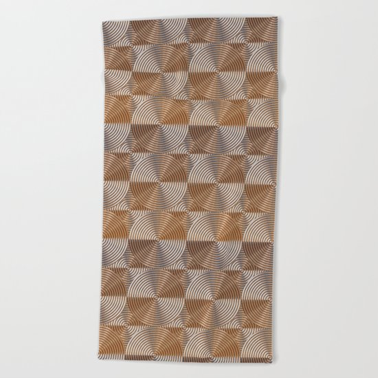 Shiny golden embossed metal pattern Beach Towel