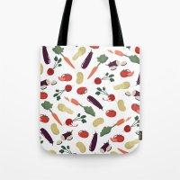 vegetable Tote Bags featuring Vegetable by Ceren Aksu Dikenci