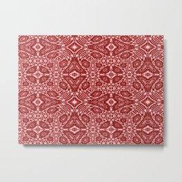 Autumn Crimson Red And White Metal Print