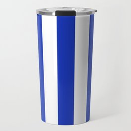 Persian blue - solid color - white vertical lines pattern Travel Mug