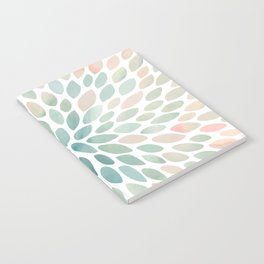 Floral Bloom, Abstract Watercolor, Coral, Peach, Green, Floral Prints Notebook