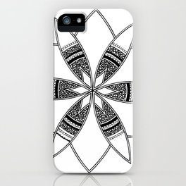 Simple black mandala on white iPhone Case