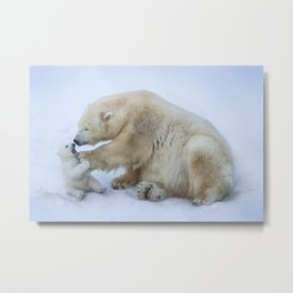 Polar bear with cub. Mother love. Metal Print