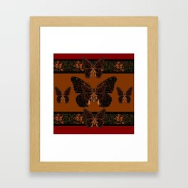 BLACK  MONARCH BUTTERFLIES,COFFEE BROWN-BURGUNDY ART Framed Art Print