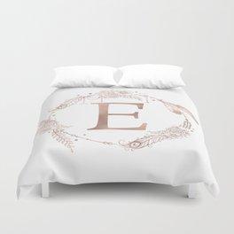 Letter E Rose Gold Pink Initial Monogram Duvet Cover