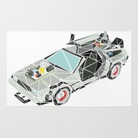 delorean Area & Throw Rugs featuring The Delorean by Josh Ln