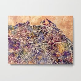 Edinburgh City Scotland Street Map Metal Print
