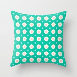 White and pink flowers with blue dots on turquoise background Throw Pillow