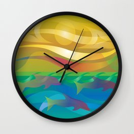 Dolphins at Sunset Wall Clock