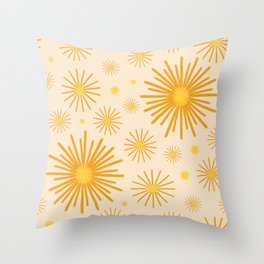 Abstract Hand-painted Golden Fireworks, Vintage Festive Pattern with Beautiful Acrylic Texture, Gold and Light Beige Color Throw Pillow