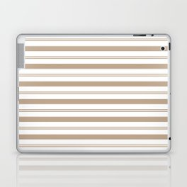 Pantone Hazelnut and White Stripes, Wide and Narrow Horizontal Line Pattern Laptop & iPad Skin