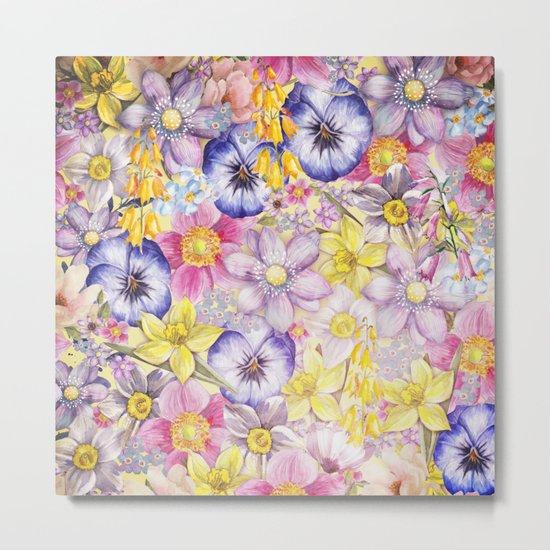 Painterly Vintage Spring Flowers Pattern - Springflower floral Metal Print