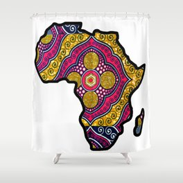 Pink Purple Africa Map Shower Curtain