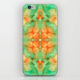 Green & orange diamond watercolors kaleidoscope iPhone Skin