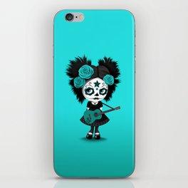 Teal Blue Big Eyes Sugar Skull Girl Playing the Guitar iPhone Skin