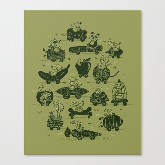 Critter Cars Canvas Print