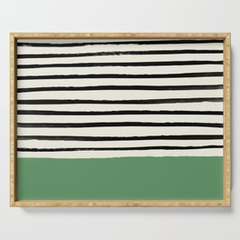 Moss Green x Stripes Serving Tray