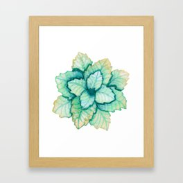 Turquoise and Gold Leaves Framed Art Print