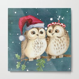 Cute Christmas Winter Owl Couple Painting Metal Print