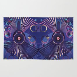 Stylized sound speaker with geometric elements Rug