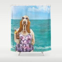 Basset Hound on the Beach Shower Curtain