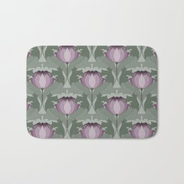 Lavender Flowers Art Nouveau Inspired Floral Pattern Bath Mat