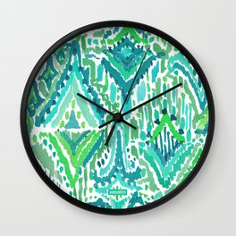 Spring TEMPLE TRIBAL Green Ikat Wall Clock