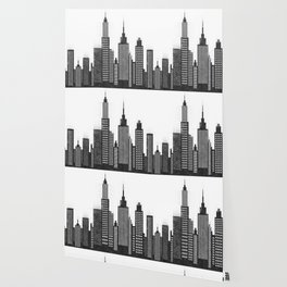 Modern City Buildings And Skyscrapers Sketch, New York Skyline, Wall Art Poster Decor, New York City Wallpaper