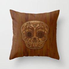 Wooden Sugar Skull Throw Pillow
