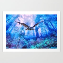 Owl flight Art Print