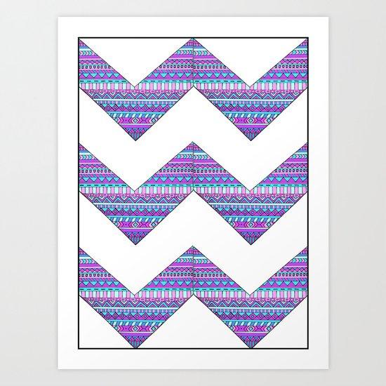 Patterned chevrons Art Print