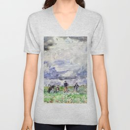 Thomas Hennell - Figures working in a field - Digital Remastered Edition Unisex V-Neck