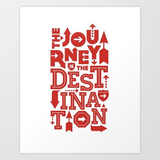 Red Zen Journey Quote Art Print