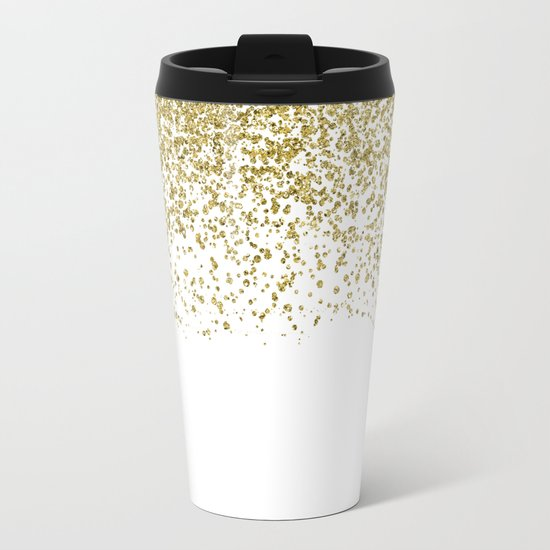 Sparkling gold glitter confetti on simple white background- Pattern #Society6 Metal Travel Mug