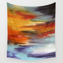 Abstract sunset over the water Wall Tapestry
