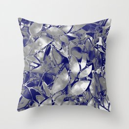 Grunge Art Silver Floral Abstract G169 Throw Pillow